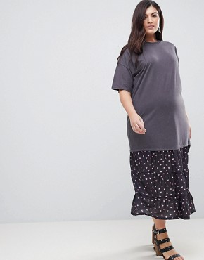 photo Oil Wash T-Shirt Maxi Dress with Woven Hem by ASOS CURVE, color Multi - Image 4