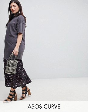 photo Oil Wash T-Shirt Maxi Dress with Woven Hem by ASOS CURVE, color Multi - Image 1