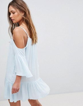 photo Cold Shoulder Midi Dress with Embroidery and Tie Strings by En Creme, color Baby Blue - Image 2