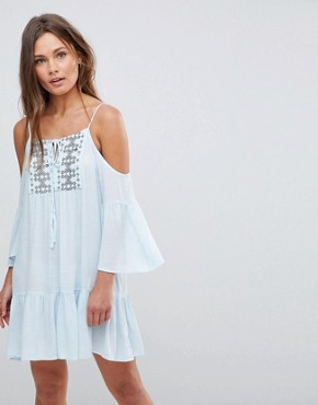 photo Cold Shoulder Midi Dress with Embroidery and Tie Strings by En Creme, color Baby Blue - Image 1