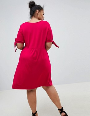 photo Mini Button Through Tea Dress with Tie Sleeve by ASOS DESIGN Curve, color Raspberry - Image 2