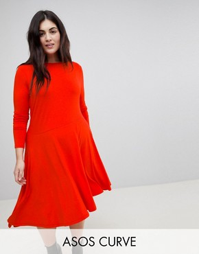 photo Midi Swing Dress with Asymmetric Hem by ASOS CURVE, color Red - Image 1