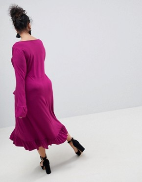 photo Midi Tea Dress with Frill Cuff by ASOS CURVE, color Purple - Image 2