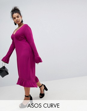 photo Midi Tea Dress with Frill Cuff by ASOS CURVE, color Purple - Image 1