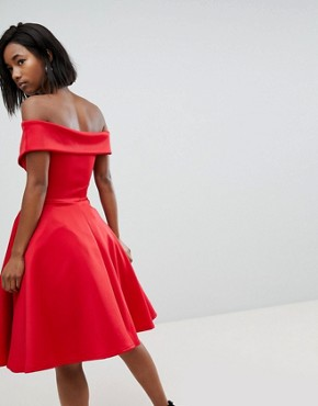 photo Modern Bardot Scuba Skater Dress by Club L, color Red - Image 2