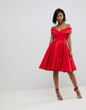 photo Modern Bardot Scuba Skater Dress by Club L, color Red - Image 1