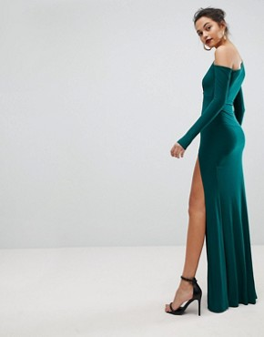 photo Maxi Dress with Wrap Front and Clevage Cut by Club L, color Green - Image 2
