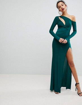 photo Maxi Dress with Wrap Front and Clevage Cut by Club L, color Green - Image 1
