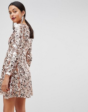 photo Rose Gold Mini Disc Sequins Wrap Over Skater Dress by Club L, color Rose Gold - Image 2