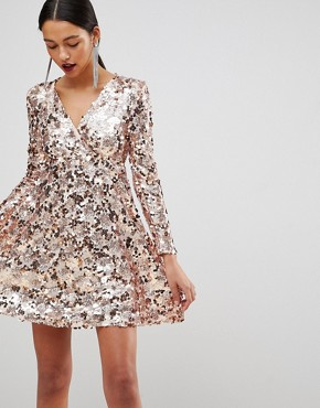 photo Rose Gold Mini Disc Sequins Wrap Over Skater Dress by Club L, color Rose Gold - Image 1