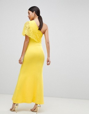 photo One Shoulder Lace Cape Overlay Detailed Maxi Dress by Club L, color Yellow - Image 2