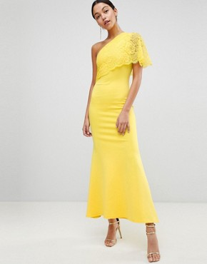 photo One Shoulder Lace Cape Overlay Detailed Maxi Dress by Club L, color Yellow - Image 1