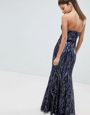 photo Embellished Sequin Strapless Fishtail Maxi Dress by Club L, color Navy - Image 2