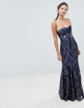 photo Embellished Sequin Strapless Fishtail Maxi Dress by Club L, color Navy - Image 1