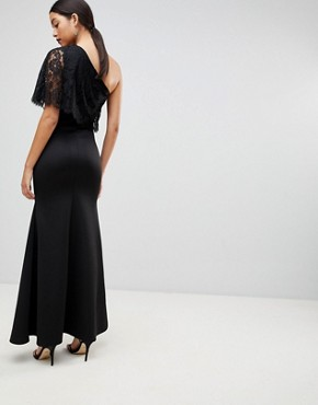 photo One Shoulder Lace Cape Overlay Detailed Maxi Dress by Club L, color Black - Image 2