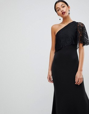 photo One Shoulder Lace Cape Overlay Detailed Maxi Dress by Club L, color Black - Image 1