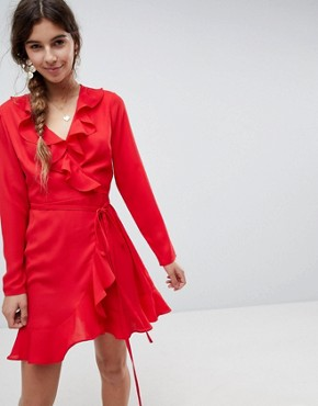 photo Ruffle Wrap Mini Dress by ASOS, color Red - Image 1