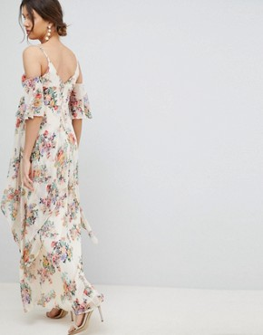 photo Maternity Floral Flutter Sleeve Maxi Dress by ASOS DESIGN, color Floral - Image 2