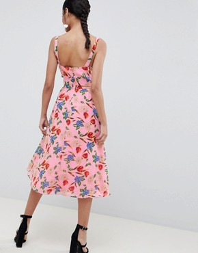 photo Cut Out Midi Dress in Pink Floral Print by ASOS DESIGN, color Pink Floral Print - Image 2