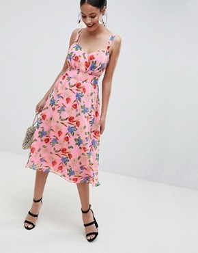 photo Cut Out Midi Dress in Pink Floral Print by ASOS DESIGN, color Pink Floral Print - Image 1