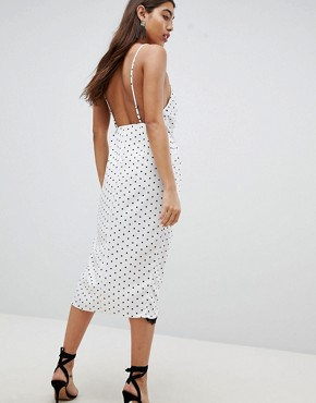 photo Lingerie Wrap Midi Dress in Satin Spot Print by ASOS DESIGN, color White - Image 2