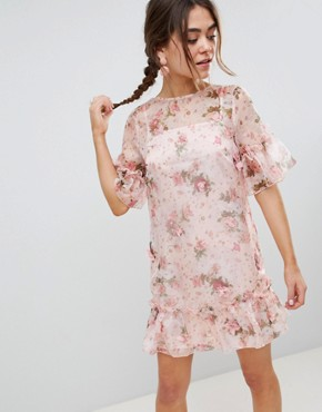 photo Mini Shift Dress in Pretty 3D Floral by ASOS DESIGN, color Floral Print - Image 1