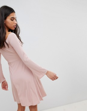 photo Skater Dress with Tie Waist by Lost Ink, color Blush - Image 2
