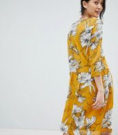 photo Printed V-Neck Dress by Ichi, color Golden Yellow - Image 2