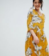photo Printed V-Neck Dress by Ichi, color Golden Yellow - Image 1