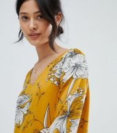 photo Printed V-Neck Dress by Ichi, color Golden Yellow - Image 3