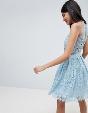 photo Pinny Prom Mini Dress in Lace by ASOS DESIGN Tall, color Pale Blue - Image 2
