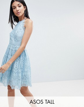 photo Pinny Prom Mini Dress in Lace by ASOS DESIGN Tall, color Pale Blue - Image 1