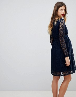 photo Long Sleeve Lace Dress by Mama.licious, color Navy - Image 2
