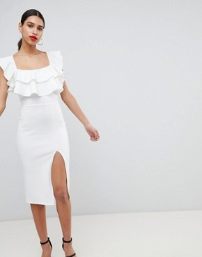 photo Square Neck Ruffle Front Midi Dress by ASOS, color Ivory - Image 1