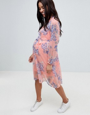 photo Bloom Print Woven Tea Dress by Mama.licious, color Pink - Image 4