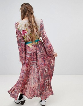 photo Flared Sleeve Maxi Dress in Paisley with Premium Embellishment by Aratta, color Multi - Image 2