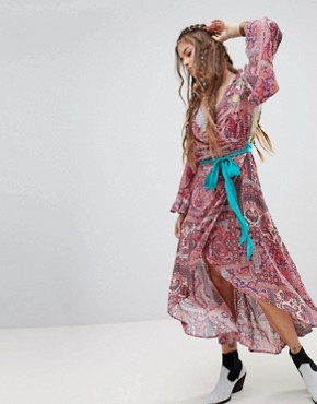 photo Flared Sleeve Maxi Dress in Paisley with Premium Embellishment by Aratta, color Multi - Image 1