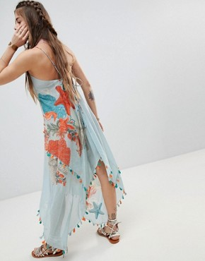 photo Cami Dress with Tassel Trim in Ocean View Print by Aratta, color Sky Multi - Image 2