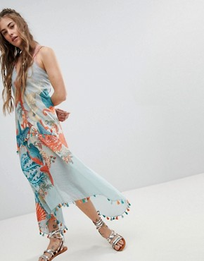 photo Cami Dress with Tassel Trim in Ocean View Print by Aratta, color Sky Multi - Image 1