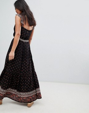 photo Nocturnal Daze Ruffle Strap Maxi Dress by Raga, color Black - Image 2