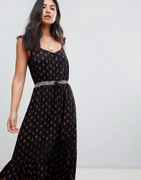 photo Nocturnal Daze Ruffle Strap Maxi Dress by Raga, color Black - Image 1