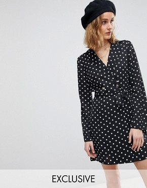 photo Polka Dot Tux Dress by Reclaimed Vintage Inspired, color Multi - Image 1