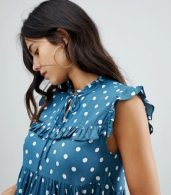 photo Sleeveless Tea Dress with Collar in Vintage Spot by Motel, color Blue Spot - Image 3