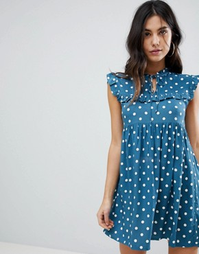 photo Sleeveless Tea Dress with Collar in Vintage Spot by Motel, color Blue Spot - Image 1