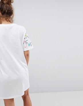 photo t-shirt Dress with Embroidered Yoke by ASOS DESIGN, color White - Image 2