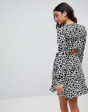 photo Mono Spot Print Ruffle Wrap Mini Dress by ASOS TALL, color Multi - Image 2