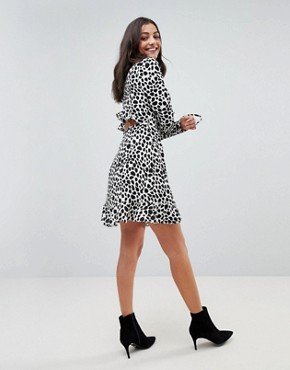 photo Mono Spot Print Ruffle Wrap Mini Dress by ASOS TALL, color Multi - Image 4