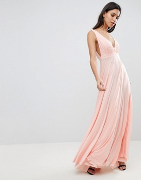 photo Maxi Dress with Extreme Pleated Detail by City Goddess, color Pink - Image 1