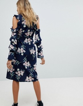 photo Cold Shoulder Wrap Floral Midi Dress by Missguided, color Multi - Image 2