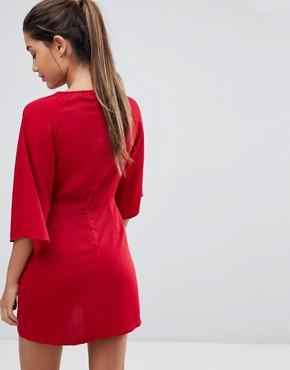 photo Round Neck Tie Front Dress by Missguided, color Red - Image 2